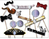 Flappers & Gents Photo Booth Props Printable ~ Roaring 20s Headpiece Pipe Monocle Glasses Mustache Bow Tie New Year Prohibition Party Gatsby