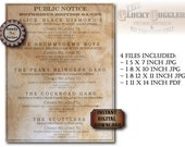 British Gang Newspaper Notice Printable 4 Files ~ Aged Steampunk Turn of 1900s Party, Bar, Home Decor ~ Alice Diamond, Peaky Birmingham Boys