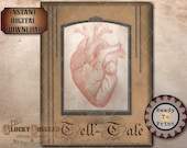Poe Tell-tale Heart Printable JPG ~ Spooky Party Decoration ~ Aged Coffee Stain Vintage Frame ~ Goth Text Halloween Decor Junk Journal Sheet