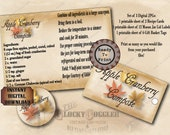 Apple Cranberry Compote Recipe Card Mason Jar Labels Hang Tags Vintage Farmhouse Style Sheets ~ 3 JPG Files ~ Fall Guest Favor Printable Set