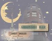 ABSINTHE BAR Printable Sign ~ Green Canvas Aged Paper Montmarte Paris Digital Set ~ French Art Nouveau Theatrical Can-can Saloon Pub Decor