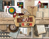 DETECTIVE PARTY Printable Escape Room Game Tripwire Tangle Mystery All Ages JPGs ~ Minecart, Puzzles, Riddles, Secret Message Decoder Wheel