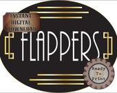 Round Flappers Door Sign ~ Printable Art Deco Restroom Sign JPG Large Oval Prohibition Roaring 20s Wedding Printable Speakeasy Party Decor