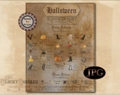 Halloween Movie SCAVENGER HUNT Printable File Family Night Social Distancing Escape Room ~ Aged Paper Drawn, Photographed, Victorian Images