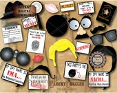 MURDER MYSTERY Detective Photo Booth Props ~ 1 ZIP File ~ Cast of Characters, Spy Secret Agent Whodunnit Party Crime Story Escape Room Game