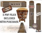 Gold Mine Scene Setter Printable Set Wild West Party Wedding Props ~ 5 Larg PDFs ~ Mine Shaft Entrance, Wooden Cart, Tracks, Danger Keep Out