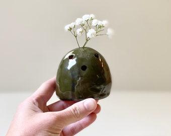 Ceramic Floral Frog - Olive Green