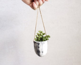 Small Hanging Planter - Succulent Planter - Black and White Decor Housewares