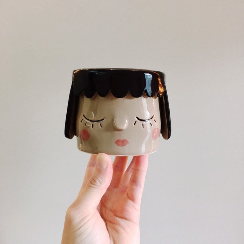 Girl Face Planter  Small Succulent Planter  Plant Lady Gifts image 0