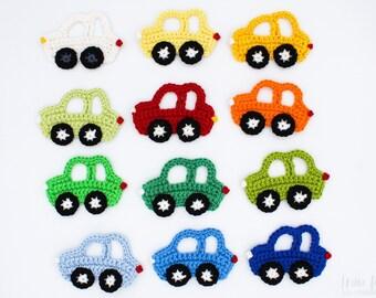 Car - crochet applique, handmade crochet patch