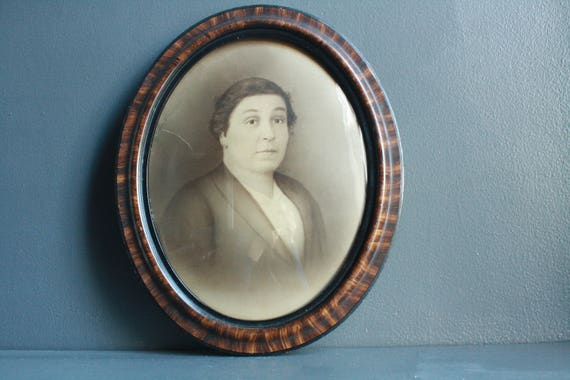 Antique Oval Tiger Wood Frame With Bubble Glass Victorian Etsy