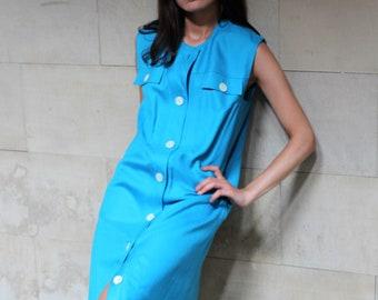 Vintage Celine blue dress / Celine Paris large dress / designer dress