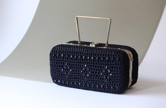 60s navy blue crochet handbag / dark blue structur