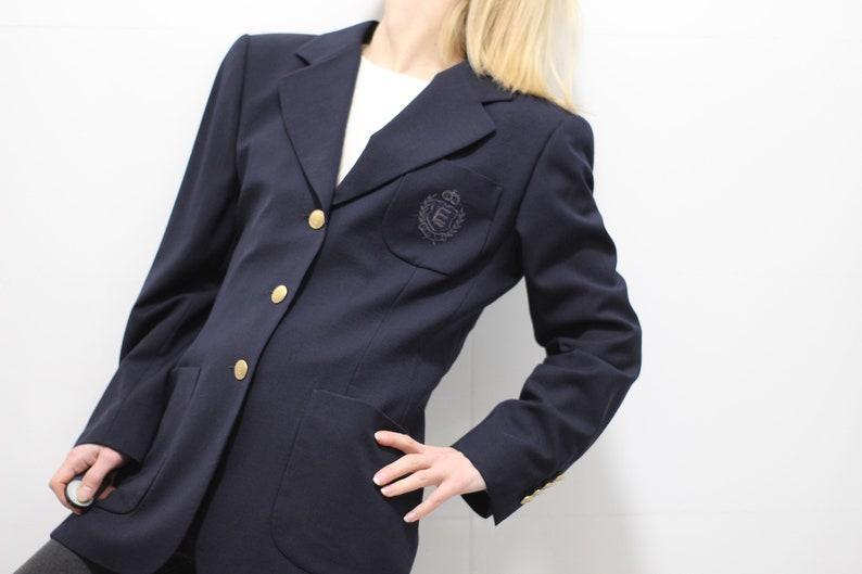 b35daefa82b 90s Escada Sport blazer / navy blue wool jacket / vintage wool | Etsy