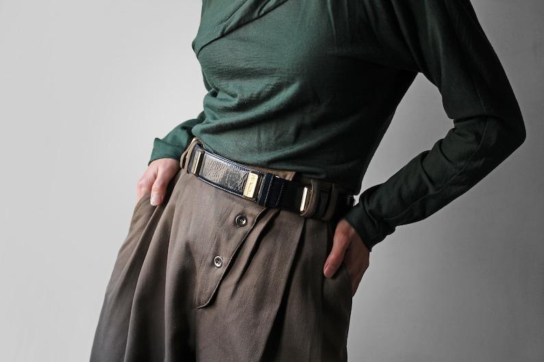 21e647cfa4f Moschino navy belt / vintage Moschino by Redwall leather belt   Etsy