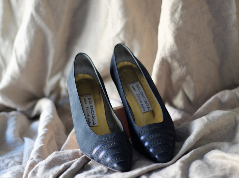 d8bdcec332dd3 Balenciaga shoes / navy suede pumps / dark blue leather heels / designer  pumps / pointy toe shoes / 36 / 37 / 5.5 / 6 / 6.5