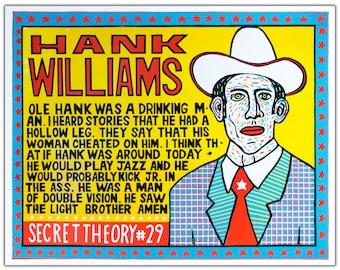 HANK WILLIAMS Secret Theory 29 Hand Printed Woodblock Poster
