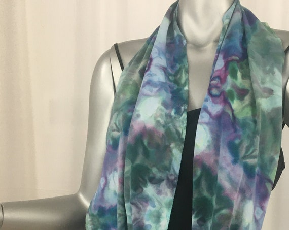 Infinity scarf, light cotton jersey, hand dyed, one of a kind, shibori, sage green , purple
