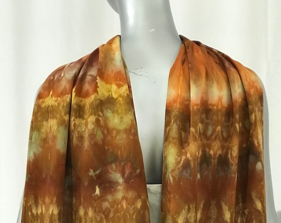 Long Rayon Scarf, casual, Shibori dyed in rich browns and golds