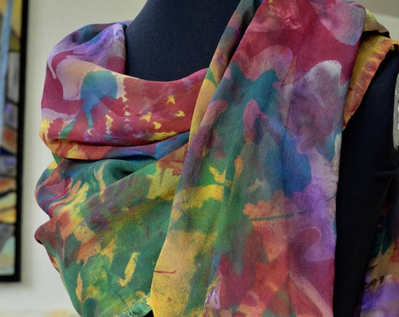 silk scarf or shoulder wrap, chiffon w/charmeuse border, one of a kind, screen-printed leaves over hand-dyed, multi-color background.
