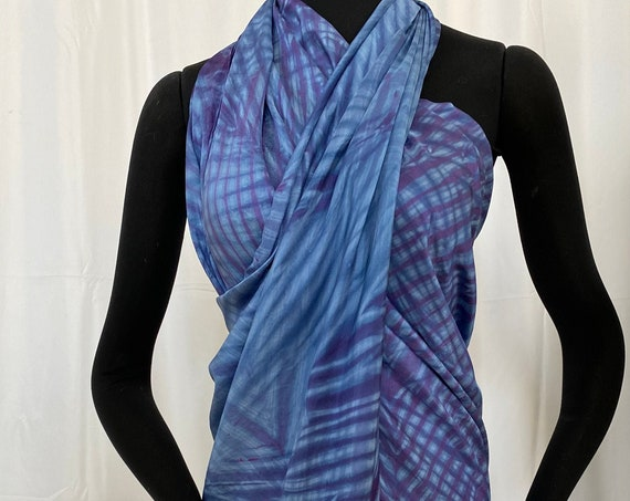 Silk sarong, Light Blue and dark blue violet, Arashi Shibori dyed