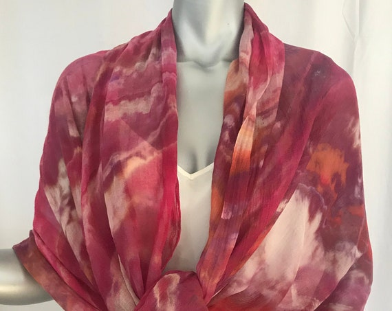 Modal silk blend large sheer scarf or wrap, shibori hand dyed red or gold