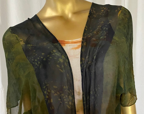 silk kimono jacket, chiffon, hand dyed, one of a kind, green and black
