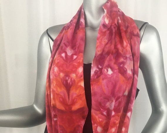 Infinity scarf, light cotton jersey, hand dyed, one of a kind, shibori, reds, hints of orange
