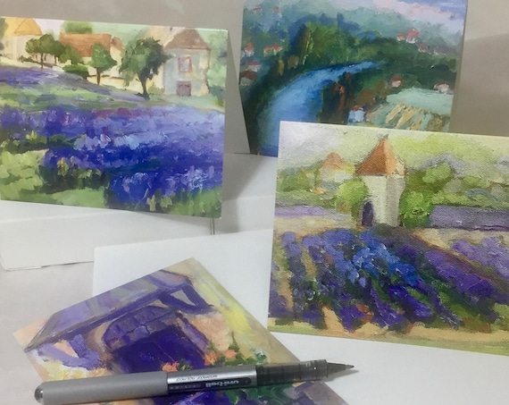 Note Cards, Thank you card, Images of plein air paintings from France.