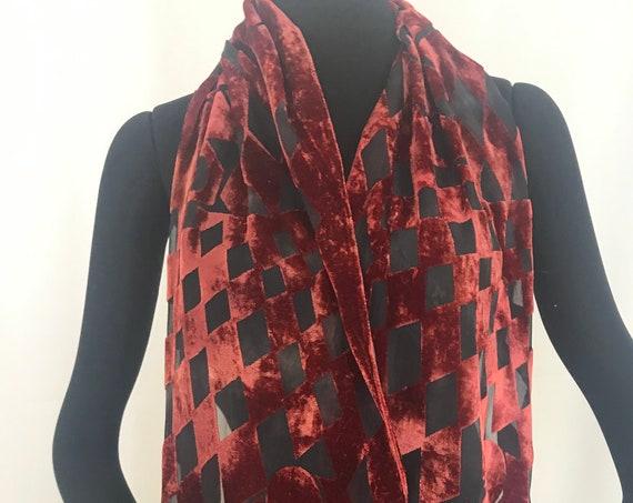 Silk velvet scarf, Devore, Geometric pattern