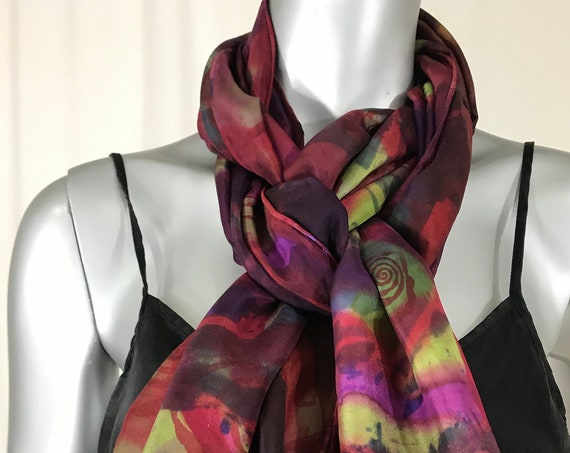 Silk Scarf, hand painted and silk screen printed, Abstract