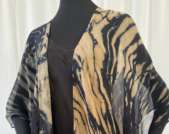 silk kimono jacket, chiffon, hand dyed, one of a kind, shibori, black and beige
