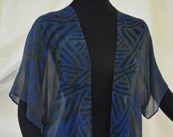 Silk Jacket, Crepe de chine silk, Kimono Jacket, Steel Blue and Black