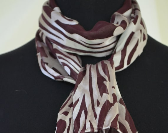 Art deco silk scarf, small, brown and silver, hand dyed