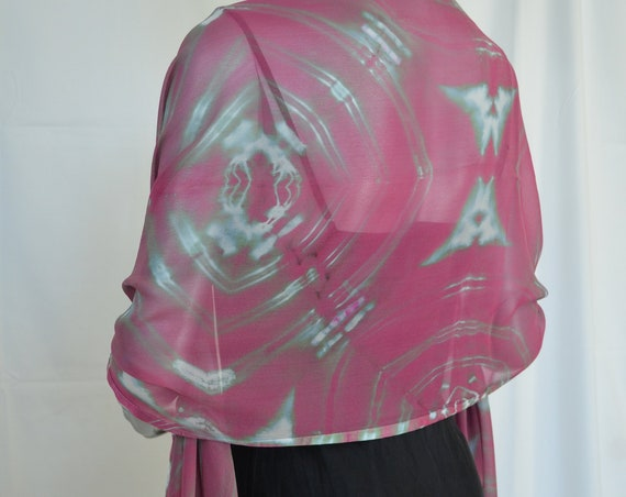 silk scarf or shoulder wrap, chiffon and charmeuse silk border, hand-dyed, fuschia and silver