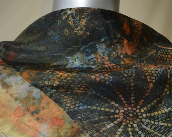 silk scarf, small square, one of a kind art to wear, multi-color - black, gold, orange