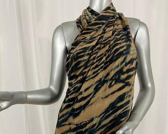 Silk Sarong, silk cape, Arashi Shibori dyed, beige, black, and hints of teal