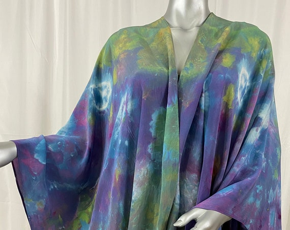 silk cape, shoulder wrap, Shibori dyed, purple, sage green, turquoise