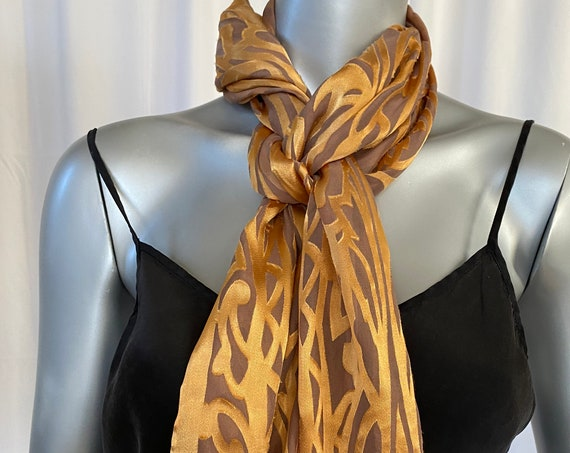 Holiday scarf, silk rayon blend, art deco pattern