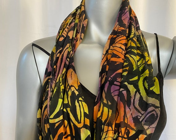 Infinity scarf, rayon jersey, wide and long, Chartreuse green,purple, orange