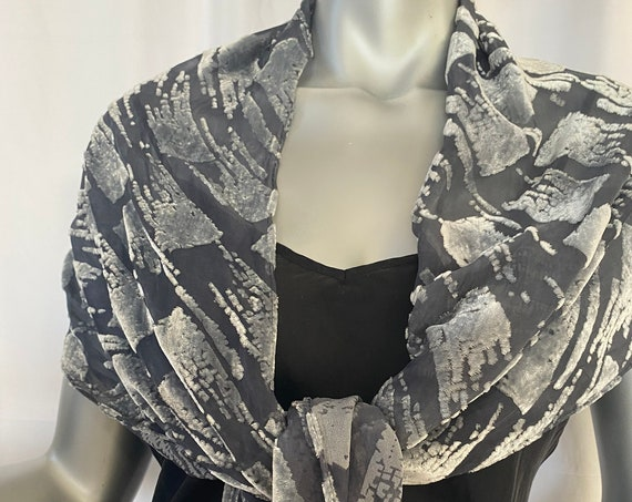 Devore Velvet Scarf, Silk Rayon, Silver and Charcoal black Red and Black