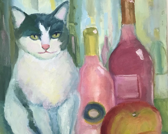 "Original oil painting, 20 x 16"", unframed, cat, wine"