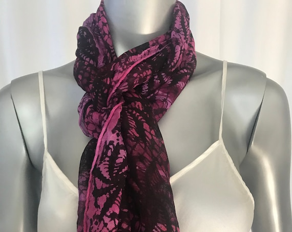 Silk mesh scarf with a 3 inch fringe, Hot Pink and Black