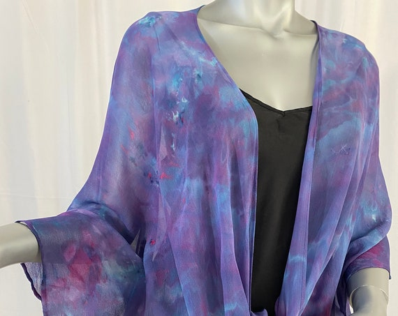 silk kimono jacket, chiffon, hand dyed, one of a kind, purple and blue