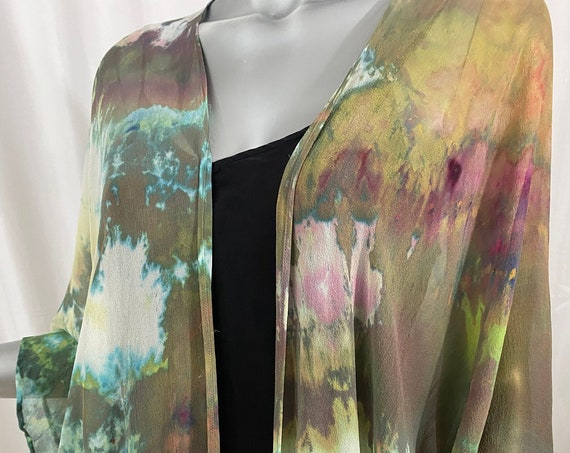 silk kimono jacket, chiffon, hand dyed, one of a kind, sage green, rose, white, hints of blue