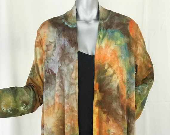 Waterfall Rayon Jersey Jacket, Hand dyed, browns, gold, turquoise, size extra large