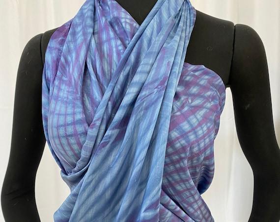 Silk sarong, Light Blue and dark blue violet, Arashi Shibori dyed