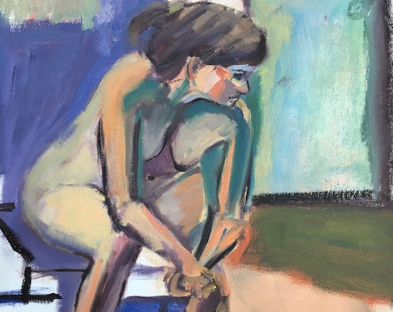 Original Painting, seated figure, bright colors