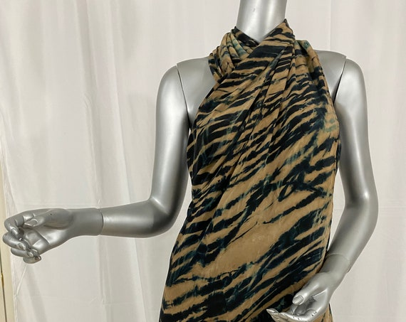 silk cape, shoulder wrap, Arashi Shibori dyed, beige, black, and hints of teal