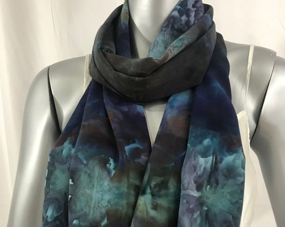 Long Rayon Scarf, casual, Shibori dyed, blue and violet